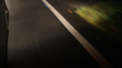 Defocused Night Driving on Dark Road Stock Video - stock footage