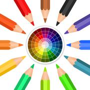 Stock Illustration of colored pencils arranged in a circle