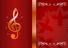 celebration background with treble clef and place for your text. - stock illustration