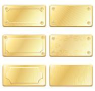 gold metal labels - nameplates - stock illustration