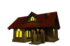 illuminated home at night isolated on white 3d render illustration. - stock illustration