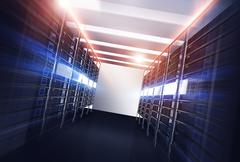 datacenter servers alley concept 3d illustration. powerful datacenter and col - stock illustration