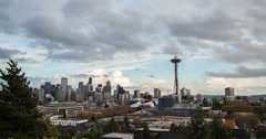 Cloud-Lapse Over Seattle - stock footage