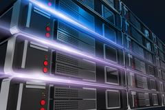Powerful servers rack closeup illustration with light rays. Stock Illustration