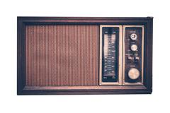 Vintage radio isolated on solid white background. front view. 80s design. Stock Photos
