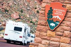 american national parks rv journey. national park service shield. zion nation - stock photo
