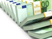 Stock Illustration of row of packs of euro. lots of cash money.