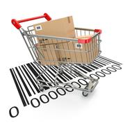 Shopping cart with purchases on bar code. Stock Illustration