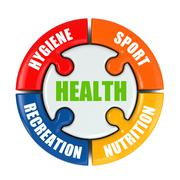 Stock Illustration of medical infographic. health is sport, hygiene, nutrition and recreation.