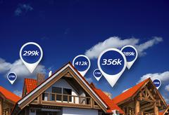 Real estate market blue price tags above properties. house prices. 3d abstrac Stock Illustration