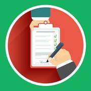 Flat design delivery signature and two hand Stock Illustration