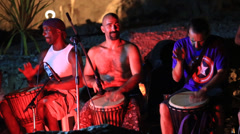Artists play the drums on Koh Phangan, Thailand - stock footage