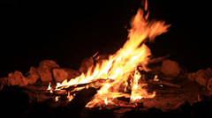 Bonfire burning trees at night. Bonfire burning brightly, heat, light,camping Stock Footage