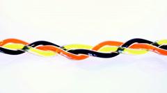 Schwarze, rote und gelbe Flüssigkeit wird aus Schläuche gezogen Stock Footage