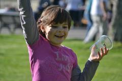 Portrait Of A Smiling Little Girl, Park, Nature, Fun, Youth Stock Photos