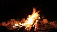 Beautiful bonfire lit at night Stock Footage
