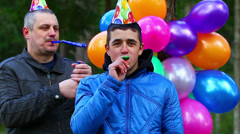 Boy in a birthday party at outdoors episode 5 - stock footage