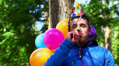 Boy in a birthday party at outdoors episode 6 - stock footage