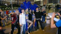 Girls on the Las Vegas Strip in Las Vegas, Nevada Stock Footage