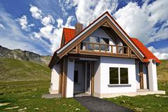 Stock Illustration of two levels single family house on mountain meadow 3d illustration