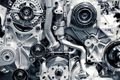 gas engine closeup background photo. car engine. - stock photo