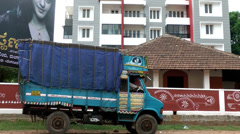 India Federal State of Karnataka City of Mangalore  033 traffic and a truck Stock Footage