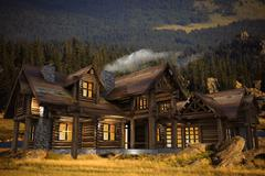 log home on the meadow 3d illustration. summer evening. log homes architectur - stock illustration