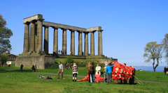 National Monument of Scotland - People walking Stock Footage