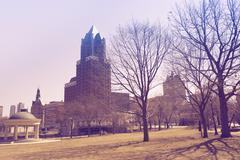 Milwaukee park. milwaukee, wisconsin, united states. ultraviolet color gradin Stock Photos