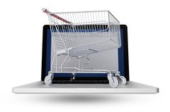 Internet shopper 3d illustration concept. shopping cart on modern laptop comp Stock Illustration