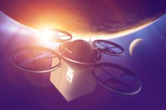 Drone era. quadcopter drone with package in the space. destination earth. rem Stock Illustration