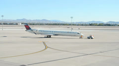 Airplane in McCarran international airport in Las Vegas, USA. Stock Footage