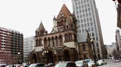 Trinity church in the city of boston Stock Footage