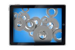 Mobile applications concept. tablet computer with cog wheels 3d render illust Piirros