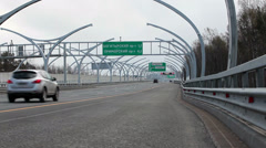 Camera zoom in Western High-Speed tollway at north in Saint-Petersburg, Russia Stock Footage