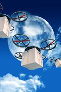 Overnight shipping by drones. 3d drones with packages illustration. large moo Piirros