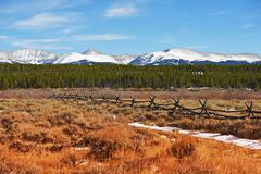 majestic colorado landscape in autumn with snowy peaks. scenic valley near le - stock photo