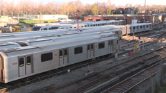 Subway trains in the yard Stock Footage