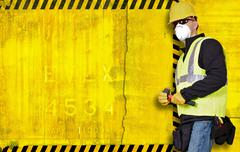 construction background with contractor on right side. large left side copy s - stock illustration