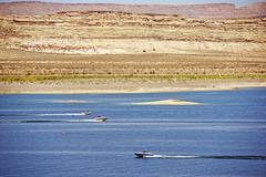 Lake powell recreation. arizona lake boating. Stock Photos