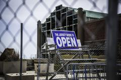 after hurricane sandy: asbury park - the shore is open - stock photo