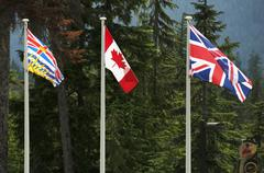 three canadian flags. british columbia, canada national and british national - stock photo