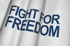 fight for freedom white canvas flag with dark blue lettering. - stock illustration
