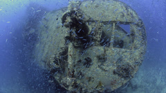 Large school of fish, world war 2 shipwreck - SS Thistlegorm - HD1080p 25fps Stock Footage
