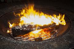 glowing fire in campfire - stock photo