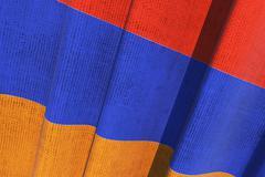 Armenia national waving canvas flag. armenian national flag 3d render illustr Stock Illustration