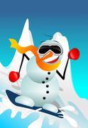Snowman on snowboard funny cartoon illustration. winter fun design. Stock Illustration