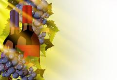 Vine and grapes illustration with solid white copy space. autumn sun rays com Stock Illustration