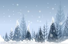 Mysterious winter forest abstract artistic illustration. seasonal winter fore Stock Illustration