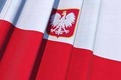 republic of poland flag. polish national flag on canvas. 3d illustration. - stock illustration